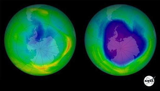 Hoyo en capa de ozono vista del espacio